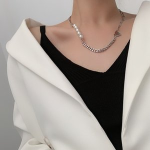 Metal Hip-hop Retro Punk Short Clavicle Individualized and Popular Necklace Natural Pearl Stitching Necklace Chokers Necklaces