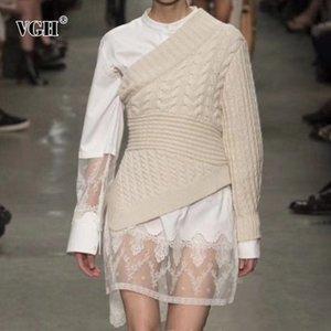 VGH Patchwork Twist Pull pour les femmes irrégulière cou asymétrique manches Casual overs Femme 2020 Mode Automne Nouveau Vêtements