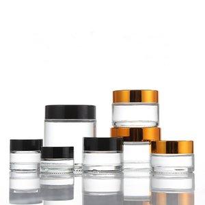 Klarglas Cremedose mit glänzendem Gold Aluminiumdeckel, Kosmetikdose, für die Probe / Augencreme Verpackung, 100g Galss Flasche