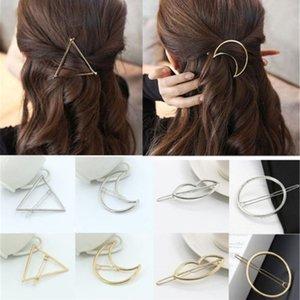 Moda Kadınlar Altın Gümüş Geometri Üçgen Firkete Metal Ay ilmek Saç Klip Barrette Yeni Headdress Saç Aksesuarları