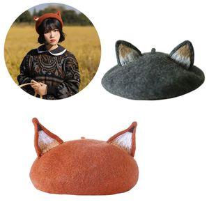 Frauen-Mädchen-Retro Beret Cap Nette Katze-3D spitzen Ohren Faux Filz Painter Hut