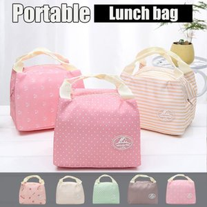 New Insulated Cold Canvas Stripe Picnic Carry Case Thermal Portable Lunch Bag For Women Kids Lunch Box Storage Bags