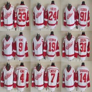Detroit Red Wings Vintage Hockey maglie 5 Nicklas Lidstrom 9 Gordie Howe 14 Brendan Shanahan 19 Steve Yzerman 24 Chris Chelios cucita