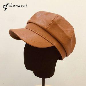 Fibonacci-2020 Qualitäts-Retro- Barett Hüte für Frauen Kunstleder Octagonal Hut Mütze Französisch Künstler Festen Maler-Barett-Hut