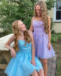 Lavender Lace Homecoming Dress 2020 A-Line Spaghetti Neck Short Prom Gowns Lace-Up Light Yellow Cocktail Party Formal Event Sweet 16 Blue
