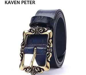 Vintage Floral Real Leather Lady Belts Genuine Leather Belt For Woman Top Quality Strap Female For Jeans 35MM Black Brown Color Y200513