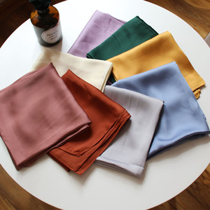 Toalha Pure Color Aeromoça Praça Silk Scarf Monochrome Moda Feminina pequeno cachecol Acessórios Turban Bag decorativa