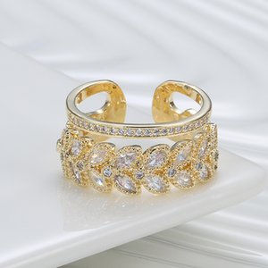 Trendy open ring Japanese and Korean all-match double-layer atmospheric zircon ring
