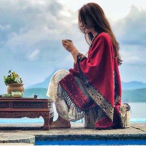 Ethnic Estilo Xaile Feminino Nepal Slit Tibet Lake Turismo Foto Manto Cachecol Grosso Quente Manto de luxo Designer Mulheres Xaile de malha