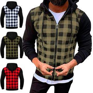 Man Plaid Hoodie Causal Langarm-Shirt Coats Zipper Cardigan-Jacken für Männer Mode Hoodiemänner