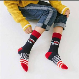 2020 Casual Trump Striped Socks Unisex Men Women Knit Socks President Donald Trump Mid-calf Happy Cotton Socks