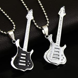 Fashion 4 Colors Cool Guitar Pendant Necklace Titanium steel Music Guitar Necklace Fine Jewelry For music fans Wholesale