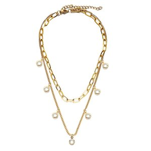 New Fashion Punk Hip Hop Double Layers Stainless Steel Necklace for Women Charm Water Drop Crystal Tassel Choker Necklace