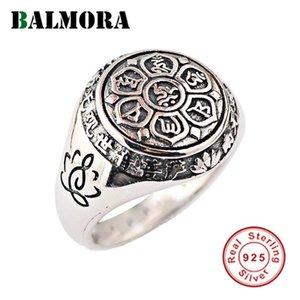 Балморе 100% Real 925 ювелирных изделий стерлингового серебра буддийский Шесть слов Mantra стар Стиль Кольца для женщин мужчин Подарочные SY20992