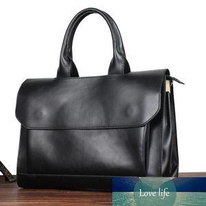Original Design Crazy Horse PU Leather Men Handbag Korean Fashion Vintage Business Briefcase