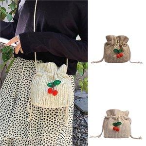 Mnycxen Mulheres Balde de Cordas Bolsas de praia Verão Knitting Straw Bag Feminino Shoulder Bag Handbag Mensageiro Cruz corpo sacolas A20