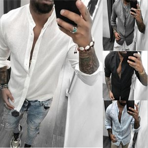 Clothes Breathable Casual Fashion Mens Shirt Long Sleeve Solid Color Tshirts Summer Loose Designer New Male