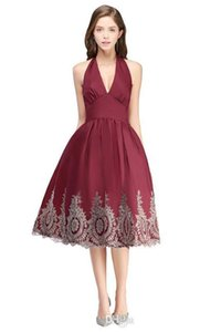 Lace Burgundy Cocktail Dresses Halter Neck Short Evening Homecoming Dress Sweet 16 Formal Party Gowns sliver Sparkling Prom Dresses