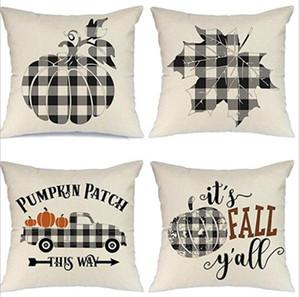 Halloween Pillow Case Pumpkin Sofa Throw Pillowcase Printed Pillow Cover Plaid Pillow Case Cover Pillowslip For Car Office Decor HHD1520