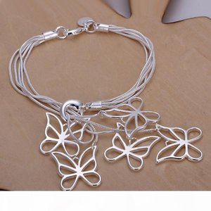 H Clover Heart Butterfly Sterling Silver Bracelet 8 Pieces Mixed Style Gtb10 Online For Sale Fashion Women &#039 ;S 925 Silver Bracelet
