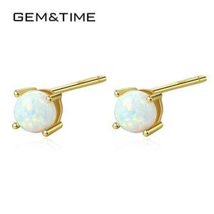 GemTime Sterling Authentic 925 Opal ovale regalo dei monili colorati orecchini placcato oro 18K Samll orecchini per le donne