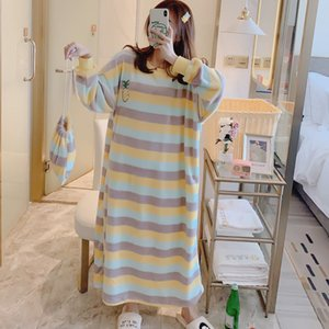 Nightdress Womens Cute Autumn and Winter Dress Cartoon Princess Style Long-Sleeved Flannel Pajamas Womens Korean-Style Student Leisure Tops