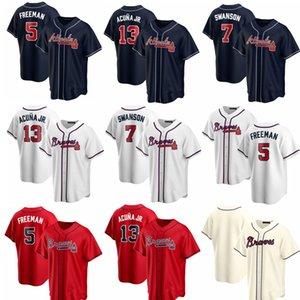 13 Ronald Acuna Jr. Männer Frauen Kinder 2020 New ReplicaAtlantaFreddie Freeman Braves7 Dansby Swanson gestickte Baseball