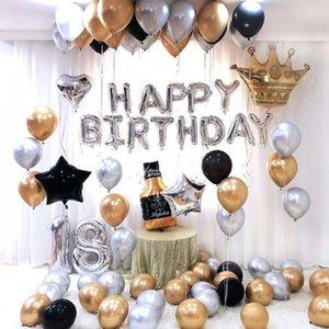 Balloons 26pcs lot 30inch Anniversary Decor 18 Foil Happy Birthday 18th Balloon Metallic Silver Number Globos Birthday T200624 Party yEAMd