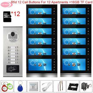 Video IntercomAccess Kontrol Kablolu Doorbell için 12 Daireler Görüntülü İnterkom ile Kayıt + 16 GB TF Kart Kapı İstasyonu