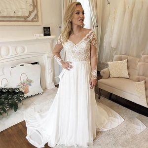 A Line Chiffon Wedding Dresses Summer Beach Boho Lace Cheap Bridal Gowns Illusion Long Sleeves Unique Key Hole Back Long Train Bridal Wear