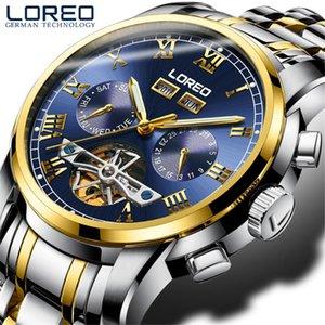 2020 Loreo erkekler İzle Aydınlık Tourbillon Su geçirmez Mekanik Saatler Erkek Saat relogio automatico Uhren tasche