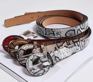 Mode, Rot, Weiß 2.8cm Breit Snake Skin Gurte für Frauen Frau PU-Leder-Runde Dornschließe Crocodile Jeans Kleid Gürtel