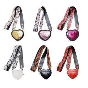 Новая мода сумки Многофункциональный Love Heart Shape Сумка Женщины Кожа блесток Маленький кошелек сумки на ремне