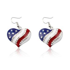 pendientes de la forma del corazón de la bandera de la bandera de América del 4 º de julio de corazón pendientes de gota de América