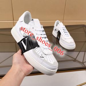 Valentino shoes Hombres Mujeres Becerro VL7N la zapatilla de deporte del cuero genuino plana Trainer con la plataforma de nuevo de la manera negro tachonado de gran tamaño de los