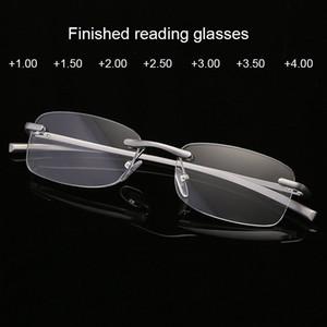 Reading Glasses Glass Rimless Readers Lightweight Reading Glasses Rectangle Mens Womens Spring Hinge Fashion +1.0 +1.5 +2.0