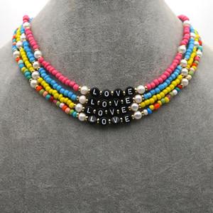 Go2Boho New Seed Beads Choker любовное письмо ожерелье Природный жемчуг ювелирные изделия Multicolor Summer Beach Pearl Ожерелье для женщин Boho