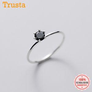 Trustdavis Genuine Finger 925 Sterling Silver Moda Dolce INS nero CZ squilla per le donne festa di nozze Belle S925 Jewelry DA1380