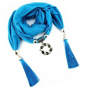 Fiore dello scialle della collana della nappa Ahmed Boemia del collare di modo Jewelry strass donne lega della sciarpa del pendente Accessori Bijoux bDWCa bdehome