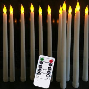 Confezione da 12 Yellow Flickering LED Candele a distanza di plastica senza fiamma a distanza Taper Candles bougie LED per la decorazione Dinner Party