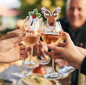 10Pcs / lot Weihnachtsmann Schneemann-Baum Weinglas Weihnachtsdekorationen für Haus-Tabellen-Platz-Karten Weihnachtsgeschenk New Year Party Supplies