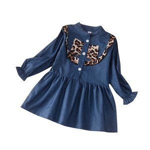 HIPAC Winter 2020 Girls Dress Girls Cute Long Sleeve Denim Leopard Fashion Vestidos 2-9T Ruched Casual Full Kids Fashion