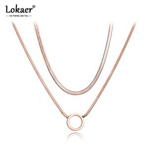 Lokaer Boemia titanio del doppio strato Catena Cerchio collane del Choker del serpente della collana del pendente per le donne ragazze N20001