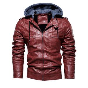 2020 Мужчины Урожай мотоциклов куртки Мужские Открытый Повседневная Кожа PU куртки Man Зимнее пальто с капюшоном воротник куртки Club Bomber