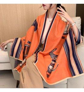 2020 New Fashion Winter Scarf Women Cashmere Warm Foulard Lady Luxury Horse Thick Scarves Soft Bufanda Shawls Wraps