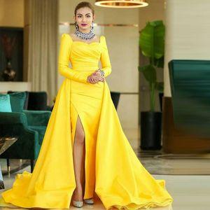 Yellow Arabic Prom Gown 2021 Full Sleeve Side Split Overskirt Formal Dress Satin Red Carpet Celebrity Evening Dresses