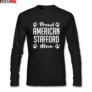 Prond americano Stafford Mom camisetas Homens Outono em torno do pescoço longo da luva camisetas Homens Roupa descontraída T Shirt Abstract Impressão Top