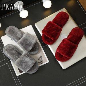 PKSAQ warmer Plüsch rot Winter Pelz feste weiche Innenschuhe, flache Hausschuhe mit Hausschuh, zu Hause thermische Schuhe