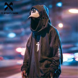 11 Dark BYBB giapponese Streetwear con cappuccio Uomini Harajuku collo bocca dei pesci Pullover Felpe oversize Hip Hop con cappuccio Techwear