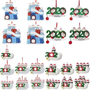 PVC cuarentena adornos de navidad 2020 Bendiciones de bricolaje Nombre con máscaras familia del muñeco de ornamentos de navidad Decoración IIA654